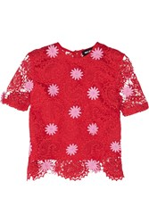 House Of Holland Paisley Guipure Lace Top Red