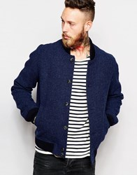 Noose And Monkey Woven In England Tweed Wool Bomber Navy