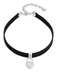 Design Lab Lord And Taylor Pave Heart Charm Choker Necklace Black