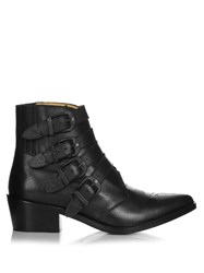 Toga Buckle Leather Ankle Boots Black