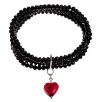 Martick 4 Row Murano Heart Bracelet Black Red