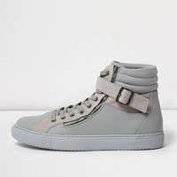 River Island Mens Dark Grey Buckle Strap Hi Tops