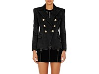 Balmain Women's Leather Double Breasted Blazer Black
