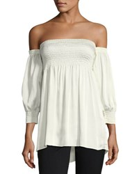 Laundry By Shelli Segal Smocked Off The Shoulder Top White