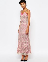 Self Portrait Lace Shell Maxi Slip Dress With Pink Lining Nudepink