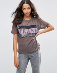 Asos T Shirt With Trash Print In All Over Sequin Charcoal Grey Multi