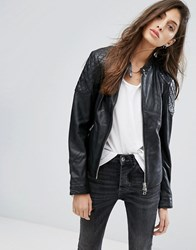 Goosecraft Collarless Leather Jacket With Diamond Quilt Detail Black