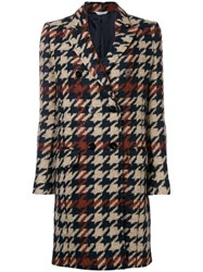 Tonello Houndstooth Double Breasted Coat Nude And Neutrals