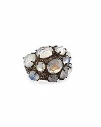 Bavna Rainbow Moonstone And Gray Diamond Cocktail Ring Size 7