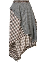 Hache Asymmetric Plaid Skirt Women Silk Cotton 42 Brown