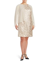 Alex Evenings Plus Embellished Cape Shift Dress Cameo