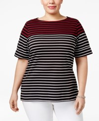 Karen Scott Plus Size Striped Boat Neck Top Only At Macy's Deep Black