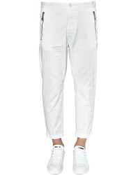 Dsquared 16Cm Hockney Light Cotton Twill Pants White