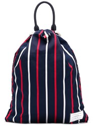 Thom Browne Banker Stripe Drawcord Bag Blue