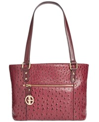 Giani Bernini Ostrich Embossed Tote Created For Macy's Wine