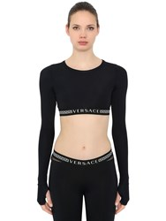 Versace Stretch Nylon Mesh Crop Top Black