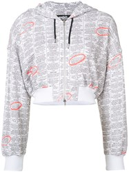 Jeremy Scott Zip Up Printed Hoodie Women Cotton 40 White