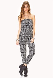 Forever 21 Explorer Tribal Print Jumpsuit Black Cream
