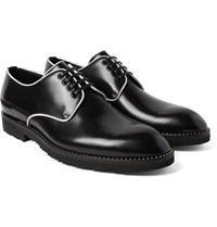 Dolce And Gabbana Contrast Trimmed Polished Leather Derby Shoes Black