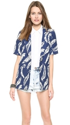 Laveer Short Sleeve Boyfriend Blazer Navy White