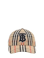 Burberry Tb Check Cotton Baseball Hat Archive Beige