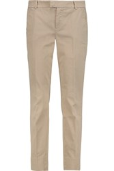 7 For All Mankind Cotton Blend Twill Straight Leg Pants Nude