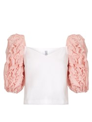 Rosie Assoulin Morel Ruffle Sleeved Cotton Top Light Pink