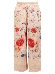 By Walid Dania Floral Embroidered Silk Trousers Pink Multi