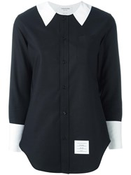 Thom Browne Contrast Collar Shirt Black