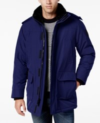 Calvin Klein Men's Faux Fur Collar Parka With Removable Hood Midnight