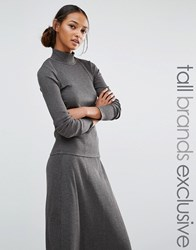 Daisy Street Tall Ribbed Knitted Jumper Grey