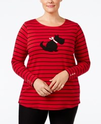 Charter Club Plus Size Striped Scottie Dog Top Only At Macy's New Red Amore Combo