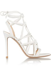 Gianvito Rossi Braided Leather Sandals White
