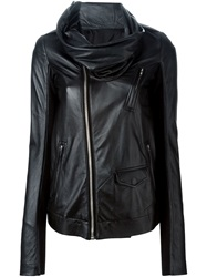 Rick Owens Cowl Neck Biker Jacket Black