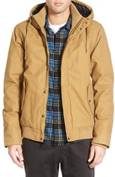 Men's Quiksilver 'Brooks' Hooded Canvas Jacket Dull Gold