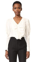 Rodarte Silk Blouse With Bow Off White