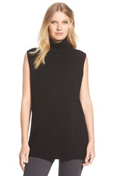 Nordstrom Sleeveless Split Front Cashmere Turtleneck Black