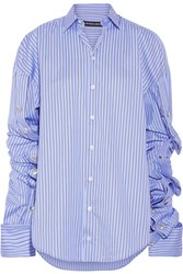 Y Project Oversized Striped Cotton Poplin Shirt Light Blue