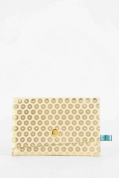 Ena Colours Leather Snap Card Case Wallet Gold