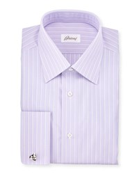 Brioni Satin Stripe French Cuff Dress Shirt Purple