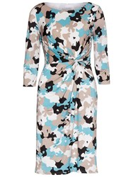Gina Bacconi Printed Ruched Jersey Dress Beige