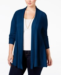 Ny Collection Plus Size Open Front Textured Cardigan Delta Navy