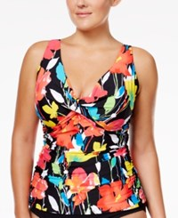 Anne Cole Plus Size Floral Print Underwire Tankini Top Women's Swimsuit Multi
