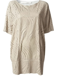 Drome Laser Cutout Pattern Tunic Nude And Neutrals