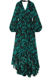 Caroline Constas Olivia Wrap Effect Printed Silk Chiffon Maxi Dress Green