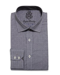 English Laundry Dot Print Pinstripe Dress Shirt Charcoal