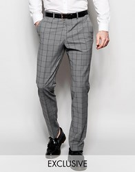 Number Eight Savile Row Exclusive Mini Check Trousers With Stretch In Skinny Fit Gray