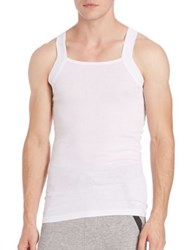2Xist Ribbed Square Cut Tank White