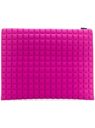 No Ka' Oi Large Grid Textured Pouch Pink And Purple