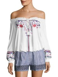 Parker Kelly Embroidered Off The Shoulder Blouse White